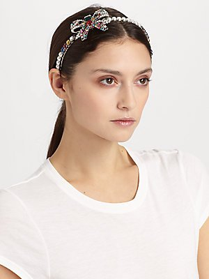 b1c78ae505d Amazon.com   Miu Miu Swarovski Crystal Accented Bow Headband - White Multi    Fashion Headbands   Beauty