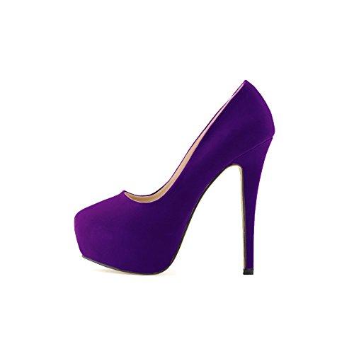 OCHENTA Mujer de la plataforma del tal¨®n talones terciopelo Cuzhen zapatos c¨®modos para caminar fiesta de bodas Morado