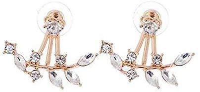 Henrigy Fashion Gold Plated Leaf Crystal Ear Jacket Double Sided Swing Stud Earrings Gift