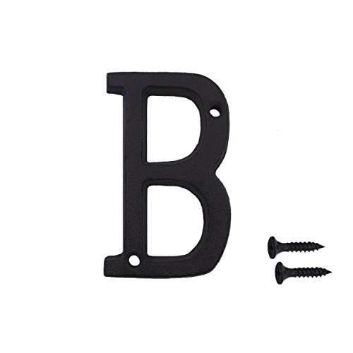 House Number Letter - 3 Inch Wrought Iron House Number, Matching Screws Included Black Letter B