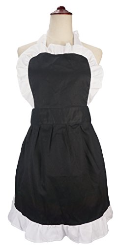 LilMents Women's Ruffle Outline Retro Apron Kitchen Cake Baking Cooking Cleaning Maid Costume (Black) -