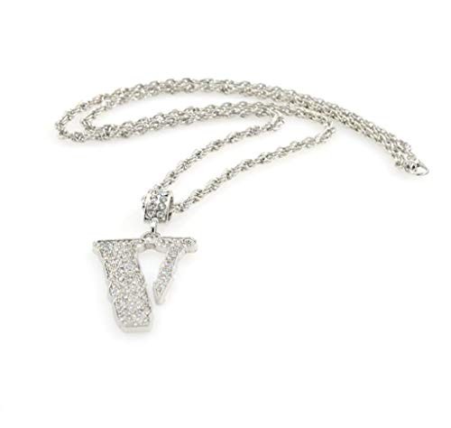 sameno Men's Tide Brand Hip-hop Full Diamond V-Shaped Pendant Necklace Trend Fashion Jewelry (Silver)
