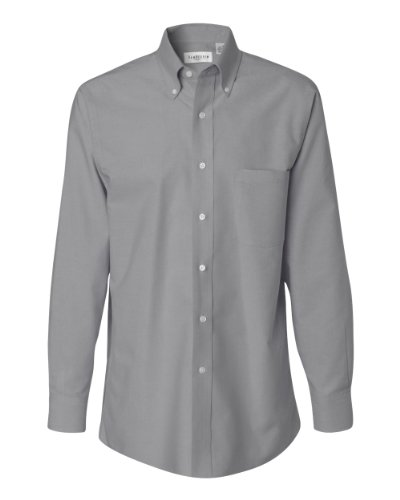 Button Down Stain Resistant Dress Shirt (Van Heusen Men's Long Sleeve Wrinkle-Resistant Oxford Button Down Dress Shirt VH56800 grey Large)