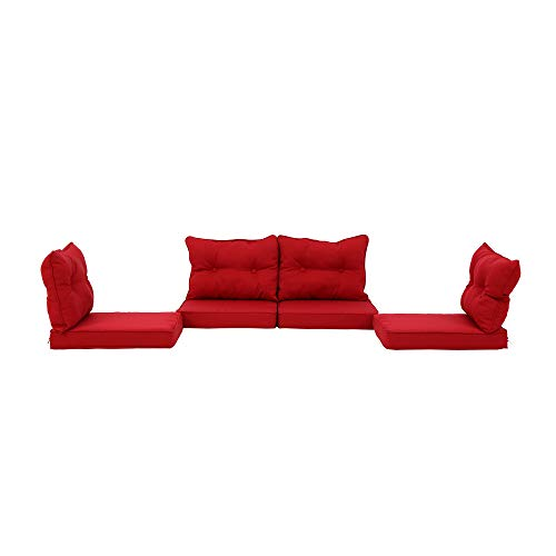 Baner Garden N87CST-R Back Cushion Set 8pcs for N87 Outdoor Furniture All Weather Deep Seating Patio Chair, Red (Cushion Seating Deep)