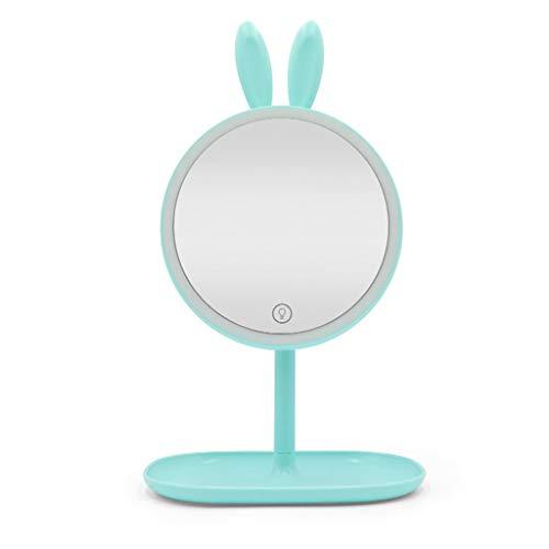 (Led Makeup Mirror with Light, Dormitory Folding Desktop Vanity Mirror 90 ° Rotation 3 File Brightness Adjustment Storage Base Makeup Mirror (Color : H) )