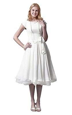 Cecelia's Veil Women's Elegant Cap Sleeves Soft Chiffon Tiers Bridal Dress