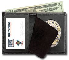 Leather Framed French Wallet - Bi-Fold Badge Holder Wallet, Shield Style with ID window 100% Genuine Leather
