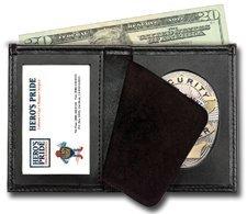 Bi-Fold Badge Holder Wallet, Shield Style with ID window 100% Genuine ()