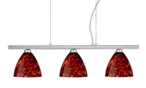 Besa Lighting 3LP-177941-PN 3X40W G9 Mia Pendant with Garnet Glass, Polished Nickel Finish (Glass Mia Decorative Garnet)