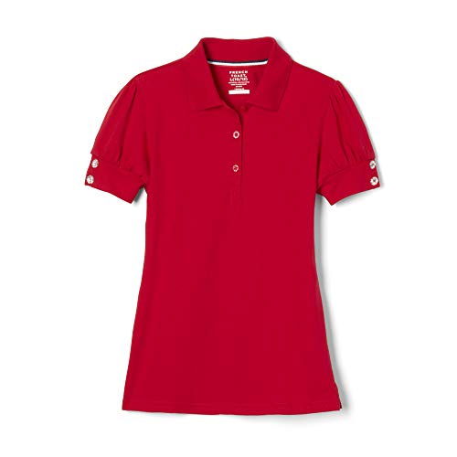 French Toast Big Girls' Puff Sleeve Double Button Polo, Red, Large/10/12