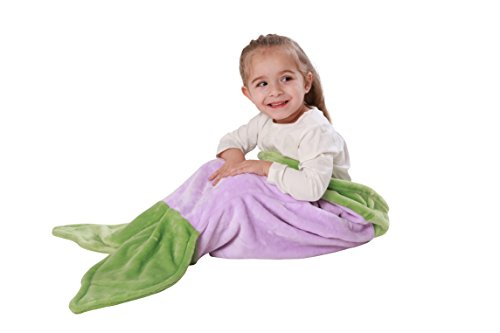 Cuddly Blankets Mermaid Tail Blanket for Toddler Girls Age 1-4 - Super Soft and Warm Minky Fabric Material Sleeping Blanket - Perfect Gift and Toy for Toddler Kids by (Purple (Minky Line Fabric)