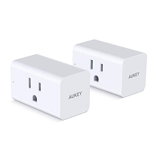 AUKEY Wi-Fi Smart Plug (2 Pack), Mini Smart Socket for use with Amazon Alexa, Google Assistant, or Free AUKEY Home App