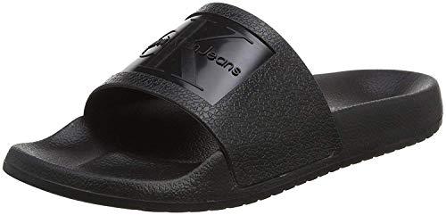 Calvin Klein Womens Christie Open Toe Casual Slide Sandals, Black, Size 6.0