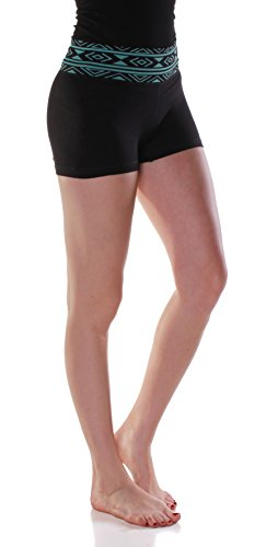 Absolute Clothing Women's Compression Tight Exercise Workout Shorts (Large/X-Large, Aztec Mint)