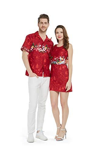 Couple Matching Hawaiian Luau Cruise Christmas Outfit Shirt Dress Cross Santa Red Men XL Women 2XL ()