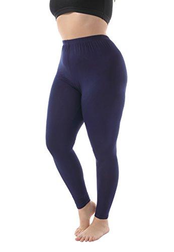 Zerdocean Women's Plus Size Modal Lightweight Full Length Leggings Navy 4X