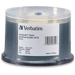 Verbatim CD-R 700MB 52X UltraLife Gold Archival Grade Surface & Hard Coat - 50pk Spindle