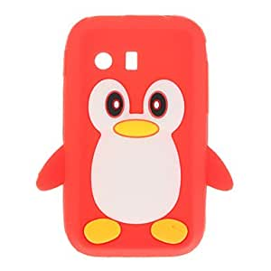 3D Cute Penguin Soft Rubber Silicone Case Skin Cover for Samsung Galaxy Y S5360 , White