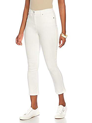 Women's High Waist Slim Fit Straight Pants Office Work Classic Stretch Five Pocket White Cropped Five Pocket Jeans