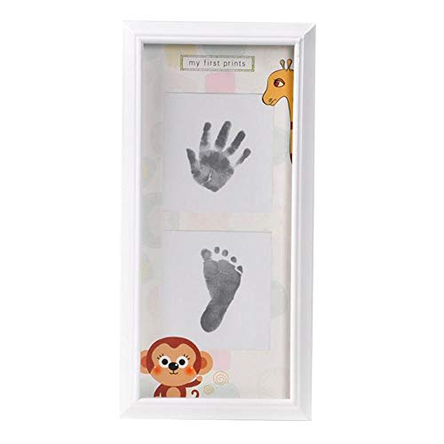 Baby Hand and Foot Ink Baby Hand and Foot Print - MDF, Creative Green Wall Hanging Baby 100 Days Old Hand Footprint Growth Creative Dust Color Cute Commemorative Photo Frame