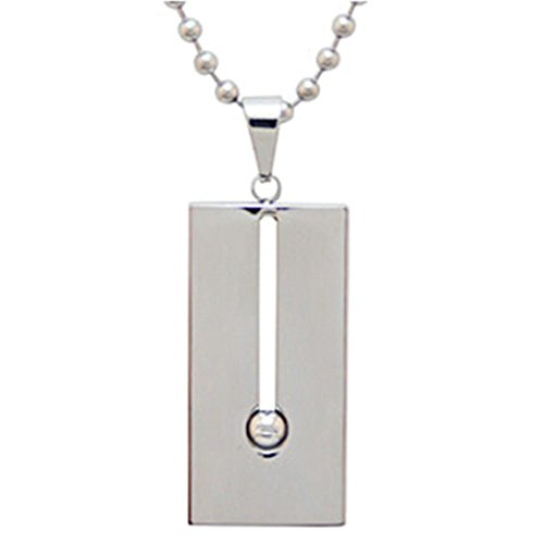 Gnzoe Jewelry Women Necklace 925 Silver Rectangle Dog Tag Shape Pendant Elegant Silver Chain Lady Chain Silver With Cubic (Queen Rectangle Magnet)