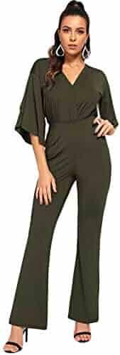 a3e9ec45613b DIDK Women s V Neck Wrap Short Sleeve Wide Leg Jumpsuits Romper