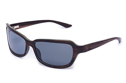 Tree Tribe Polarized Wood Sunglasses with Real Wooden Frames - The Navigators, Black - Sunglasses Tribe Tree