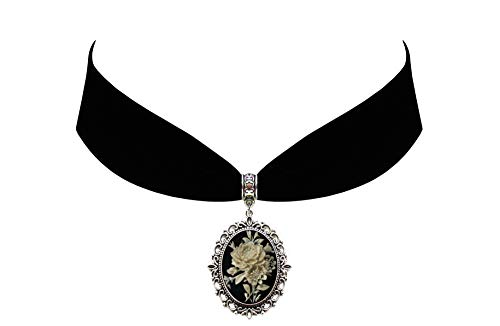 Victorian Vault Rose on Black Ivory Cameo Gothic Steampunk Victorian Pendant on Choker ()