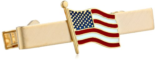 Status Men's Gold Tie Bar-W/American Flag in Center, One Size