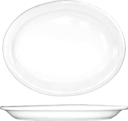 ITI-BR-14 Porcelain Brighton 13-1 4 by 10-Inch Platter, 12-Piece, White