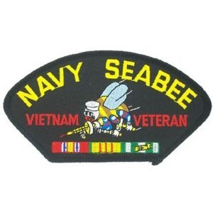 Vietnam Seabees Navy (NAVY SEABEE VIETNAM VETERAN EMBLEM BLACK PATCH(Can be sewn or ironed on jacket or hat) Patch 3