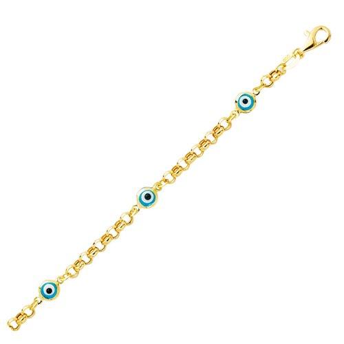JewelStop 14k Yellow Gold Evil Eye Child Baby Bracelet, Lobster Claw Clasp - 5.5'' by JewelStop
