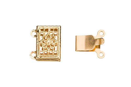 (Filigree 2-Stanrd Box Clasp 14K Gold Finished With Tab And Safety 13x11mm sold per 6pcs)