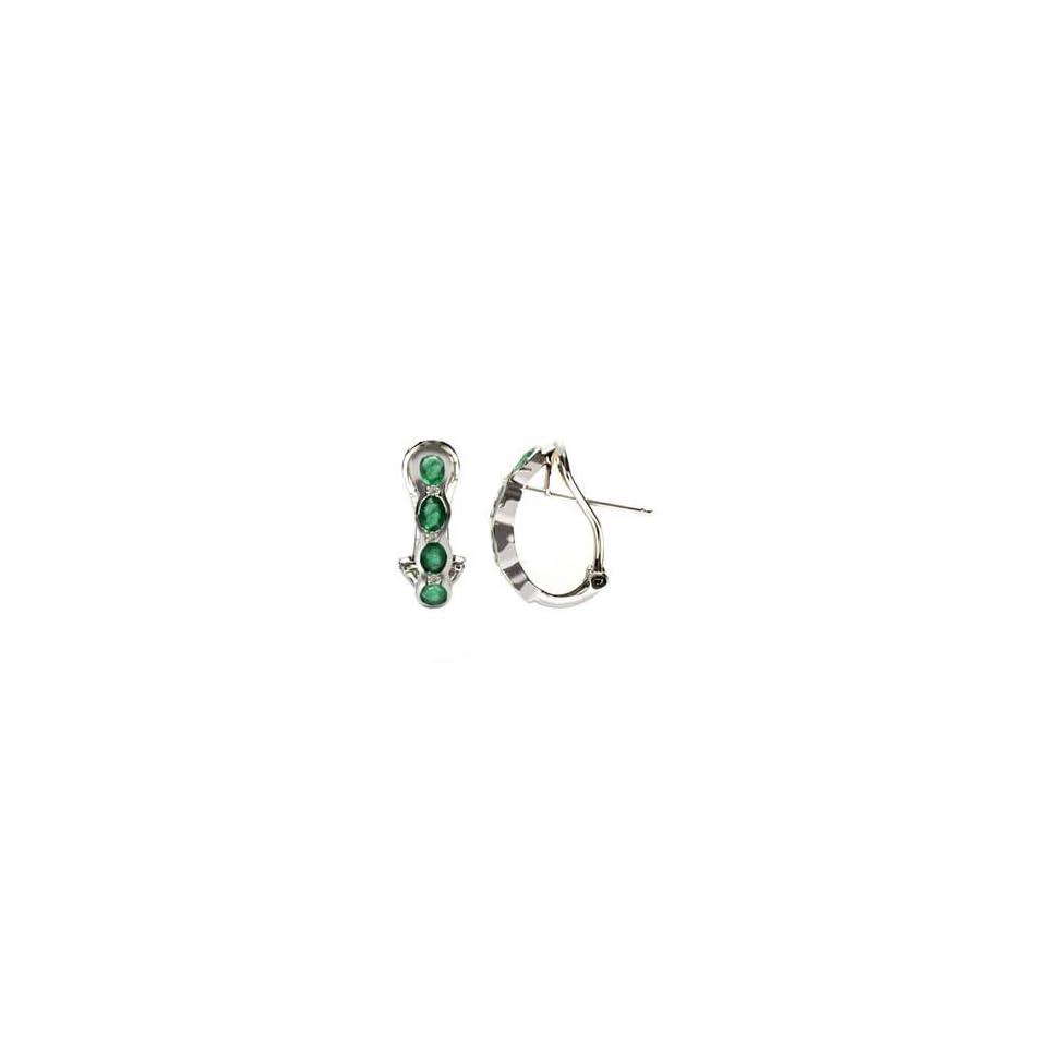14k White Gold, Emerald & Diamond Earrings (1.45 ctw)