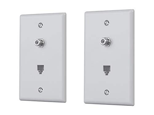 Monoprice Combo Phone/Video Jack Plate - White (2 Pack) | 4P4C Phone Lines/Coaxial (RG-6, RG-59) TV Or Data Lines