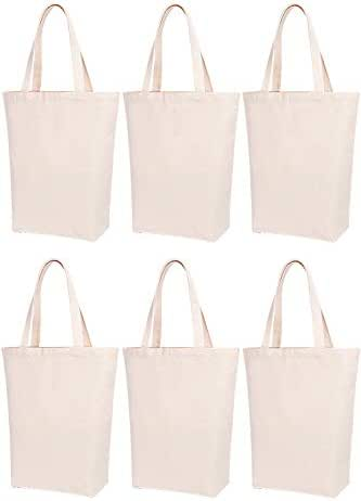 Lily Queen Natural Canvas Tote Bags DIY for Crafting and Decorating Reusable Grocery Washable Bag Shopping Bag (Natural - 6 Pack)