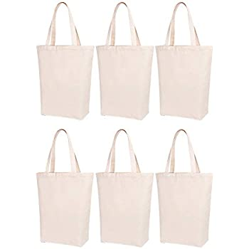 d81e485294b Lily Queen Natural Canvas Tote Bags DIY for Crafting and Decorating Reusable  Grocery Washable Bag Shopping Bag (Natural - 6 Pack)