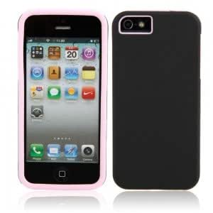 Simplicity Style Protective Silicone Hard Case for iPhone 5/5S Black + Pink