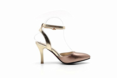 Carolbar Womens Ankle Strap Buckle Fashion Sexy Pointed Toe Heeled Sandals Champagne lyjCoq0