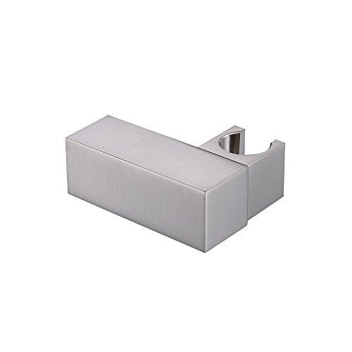 KES Brass Shower Head Holder Showerhead Bracket Handheld Bidet Sprayer Clamp Angle Adjustable Wall Mount Brushed Nickel, C212-2 (Clamps Mount Wall Brass)