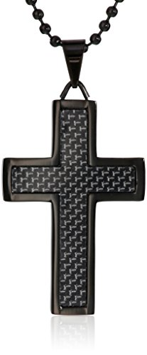 Men's Black-Tone Stainless Steel and Carbon Fiber Cross Pendant Necklace, 22