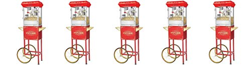 Great Northern Popcorn 6097 8 OZ Foundation Red Full Antique Style Popcorn Popper Machine Complete with Cart and 8-Ounce Kettle (5-(Pack))
