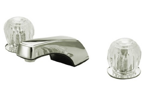 Widespread Handles Acrylic Lavatory - Kingston Brass KB921LP Americana 8-Inch Widespread Lavatory Faucet Twin Acrylic Handle Less Pop-Up, Polished Chrome