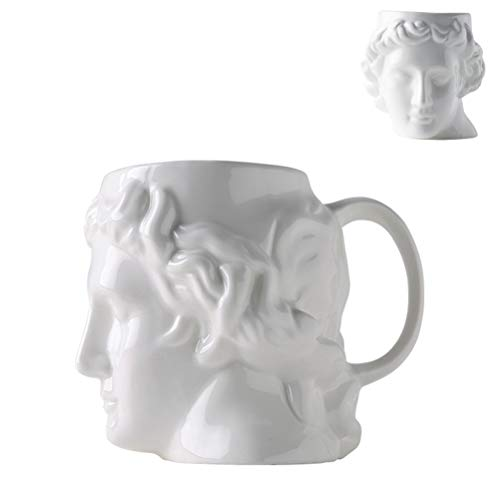 Michelangelo's David Statue Porcelain Mug - 19.6 Ounce Ceramics Cup with Handle for Coffee,Tea,Cocoa,Milk and Water (White)