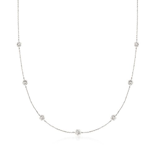 Ross-Simons 0.20 ct. t.w. Diamond Station Necklace in 14kt White Gold ()