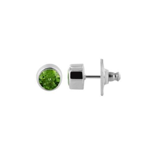 Gem Avenue 925 Sterling Silver 8mm Round Peridot Gemstone Stud Earrings