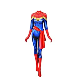 Cosplay Life Superhero Carol Danvers Cosplay Costume Lycra Fabric Bodysuit