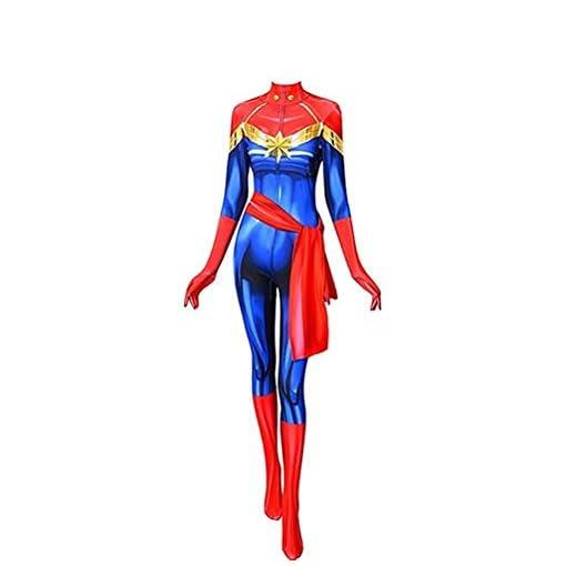 Cosplay Life Superhero Carol Danvers Cosplay Costume Lycra Fabric Bodysuit