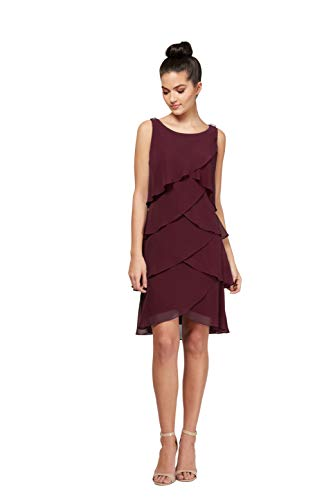 (S.L. Fashion Women's Jewel-Strap Tiered Cocktail Party Dress (Petite and Regular), Fig, 8)