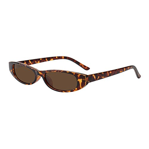 WOWSUN Fashion Oval Women Sunglasses Retro Classic Narrow Bold Small Frame (leopard-brown - For Small Face Sunglasses Best Round